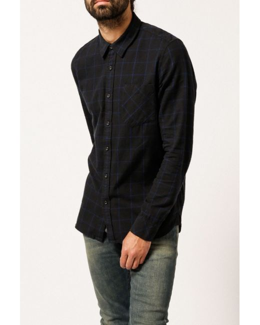 Nudie jeans henry flannel check shirt in black for men lyst for Flannel shirt and jeans