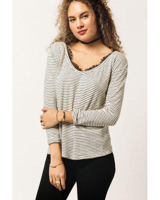 Azalea - White L/s Stripe Shirt - Lyst