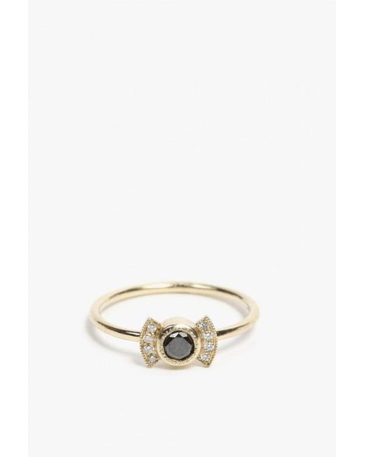 Jennie Kwon | Metallic Black Diamond Deco Ring | Lyst