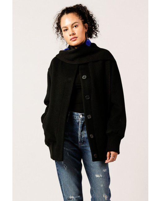 T By Alexander Wang | Black Double Faced Wool Ls Coat | Lyst