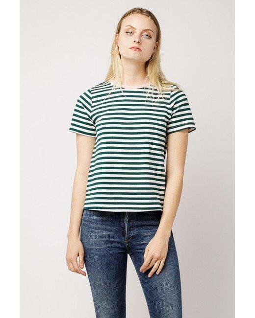 Azalea - Green Stripe Contrast Collar Top - Lyst