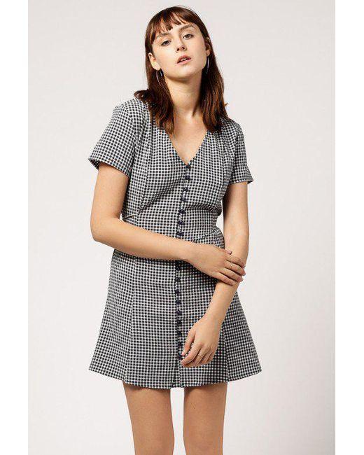 Azalea | Blue V-neck Mini Checkered Dress | Lyst