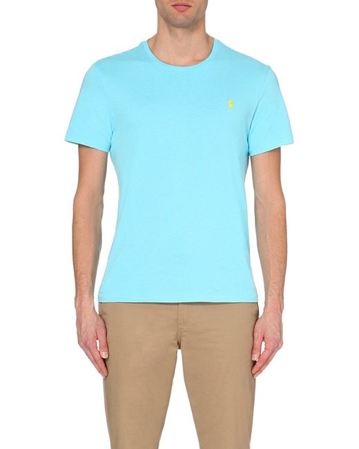 Polo Ralph Lauren | Blue Custom-fit Logo Cotton-jersey T-shirt for Men | Lyst