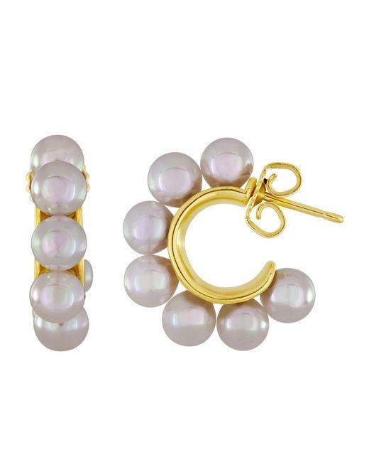 Majorica | White 18kt Gold Vermeil And Pearl Petite Hoop Earrings | Lyst