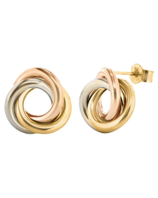 Ib&b | Multicolor 9ct Three Colour Gold Knot Stud Earrings | Lyst