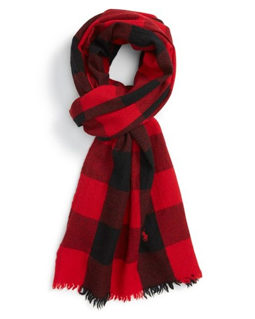 Polo Ralph Lauren | Black Buffalo Check Wool Scarf for Men | Lyst