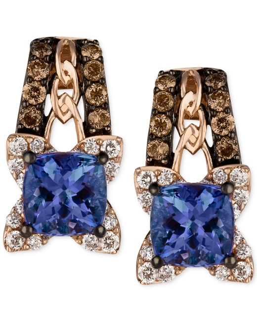 Le Vian | Blueberry Tanzanite (9/10 Ct. T.w.) And Diamond (3/8 Ct. T.w.) Earrings In 14k Rose Gold, Only At Macy's | Lyst