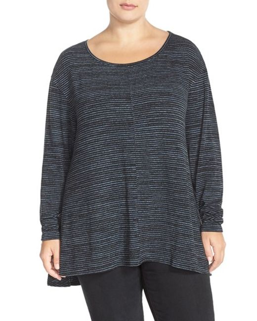 Sejour | Gray Print Long Sleeve High/low Tee | Lyst