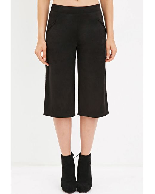 Forever 21 | Black Faux Suede Culottes | Lyst