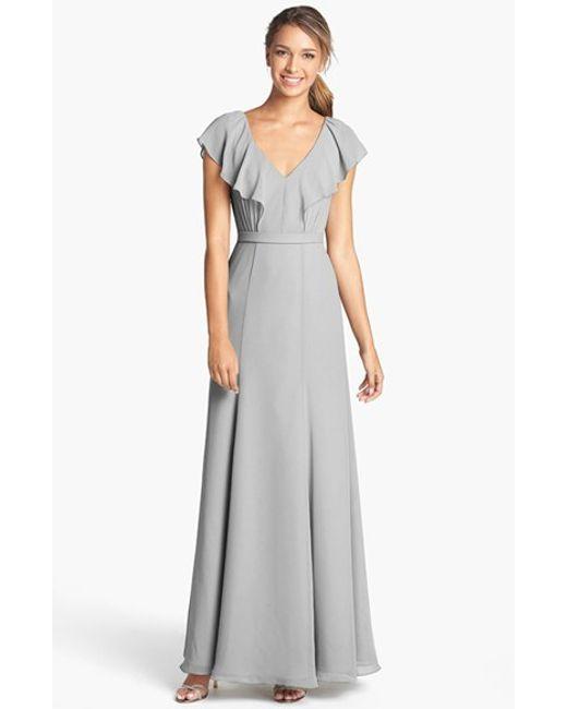 Jenny Yoo | Gray 'cecilia' Ruffled V-neck Chiffon Long Dress | Lyst
