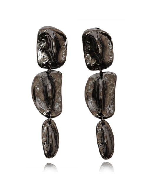 Rachael Ruddick | Black Cold Cast Crocodile Long Drop Earrings Onyx | Lyst
