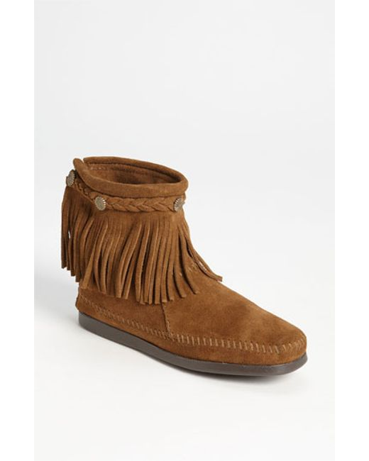 Minnetonka | Brown Fringed Moccasin Bootie | Lyst