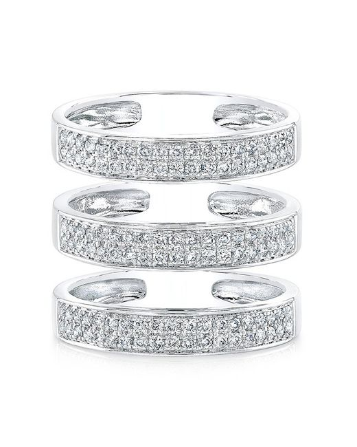 Anne Sisteron | Metallic 14kt White Gold Diamond Large Triple Bar Ring | Lyst