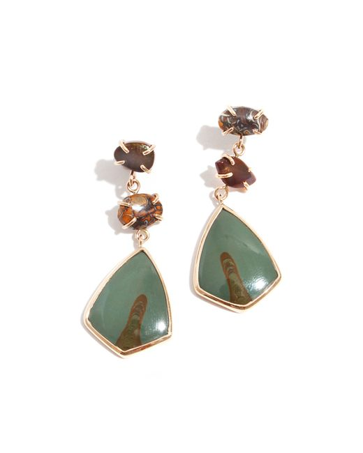 Melissa Joy Manning | Green Fire Agate, Boulder Opal, And Picture Jasper Three Drop Earrings | Lyst