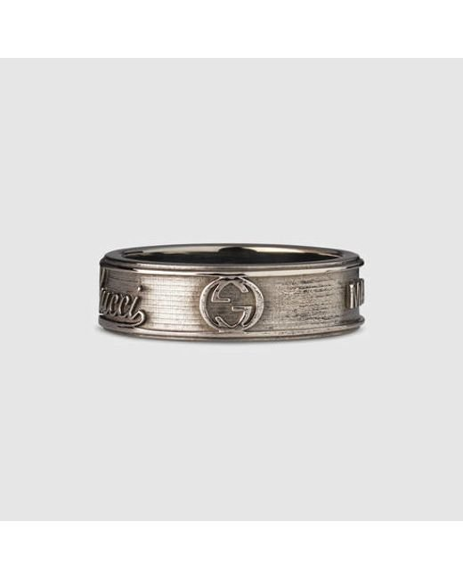 Gucci | Metallic Wide Ring With Trademark | Lyst