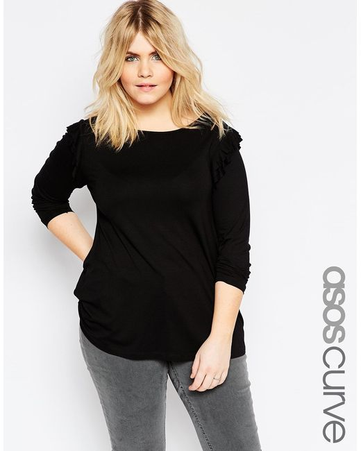 Asos Curve Ruffle Shoulder Swing Top With Long Sleeve In