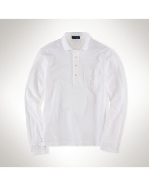 Polo Ralph Lauren | White Pima Stretch Mesh Polo Shirt for Men | Lyst