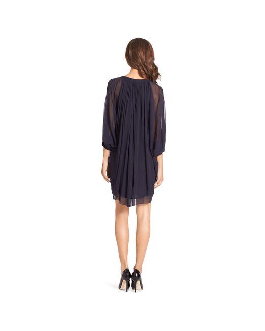 Diane von Furstenberg   Blue Fleurette Silk Chiffon Kaftan Dress   Lyst