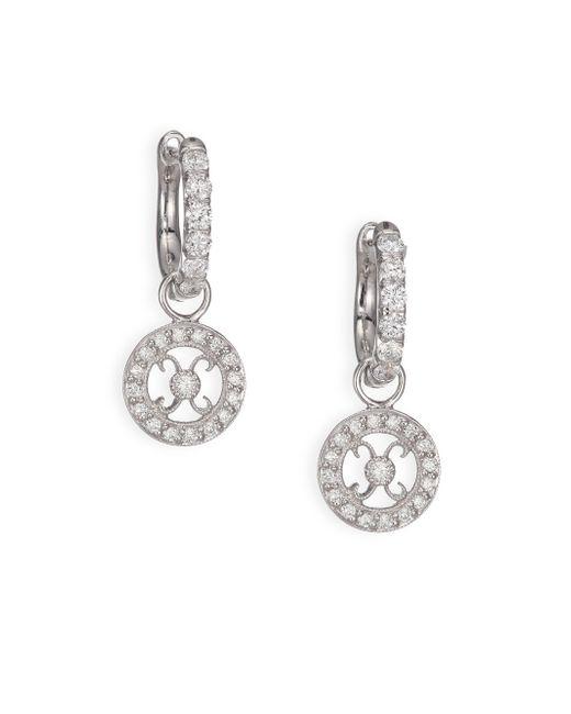 Jude Frances   Classic Diamond & 18k White Gold Earring Hugs Kisses Charms   Lyst