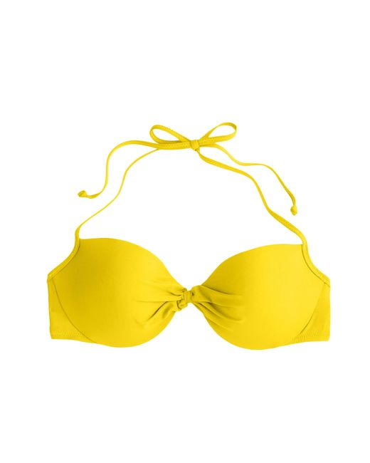 J.Crew | Yellow Gathered Halter Underwire Bikini Top | Lyst