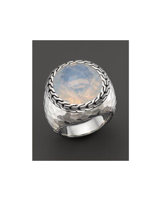 John Hardy | Metallic Sterling Silver Palu Large Oval Ring With Moon Quartz | Lyst