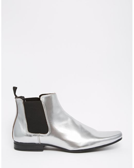 asos chelsea boots in metallic silver in silver lyst. Black Bedroom Furniture Sets. Home Design Ideas