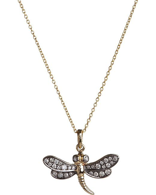 Annoushka | Metallic Love Diamonds 18ct Yellow-gold Dragonfly Pendant Necklace | Lyst
