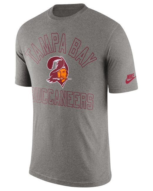 Nike men 39 s tampa bay buccaneers retro logo t shirt in gray for Old school nike shirts
