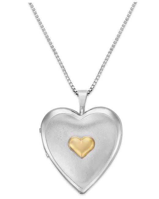 Macy's | Metallic Diamond Accent Mom Heart Locket Necklace In Sterling Silver | Lyst