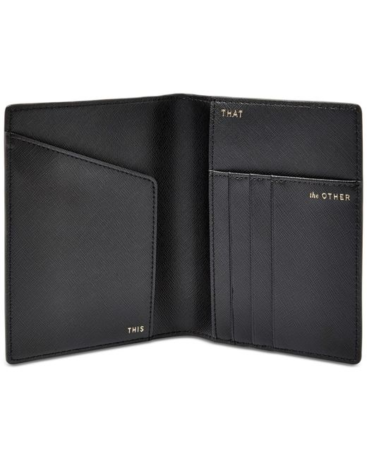 Fossil Travel Rfid Leather Passport Holder In Black For