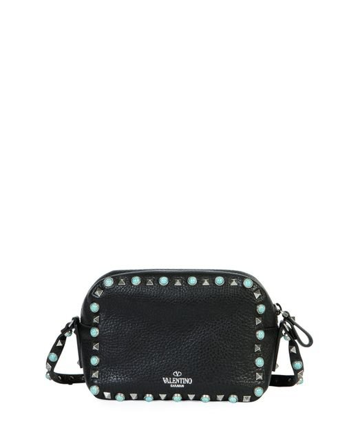Valentino Rockstud Turquoise-studded Camera Crossbody Bag in Black ...