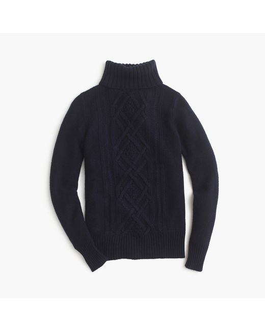 J.Crew | Blue Cambridge Cable Turtleneck Sweater | Lyst
