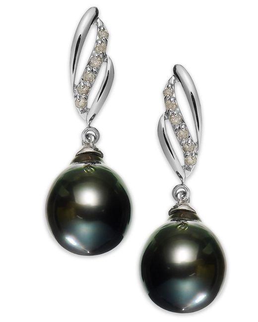 Macy's | 14k White Gold Tahitian Pearl (9mm) And Diamond (1/10 Ct. T.w.) Drop Earrings | Lyst