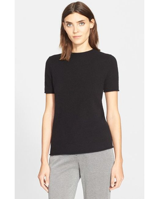 Theory | Black 'tolleree' Short Sleeve Cashmere Pullover | Lyst