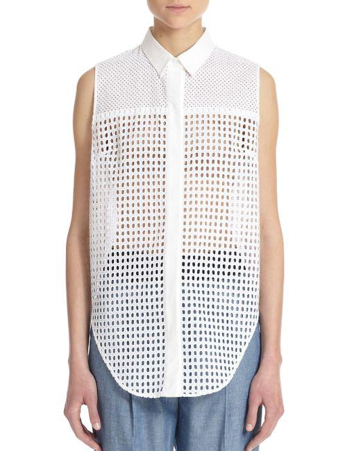 3 1 phillip lim cotton eyelet sleeveless shirt in white for Mens eyelet collar dress shirts