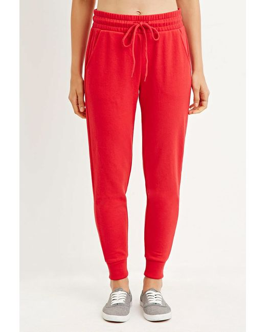 Forever 21 | Red Drawstring Cotton-blend Joggers | Lyst