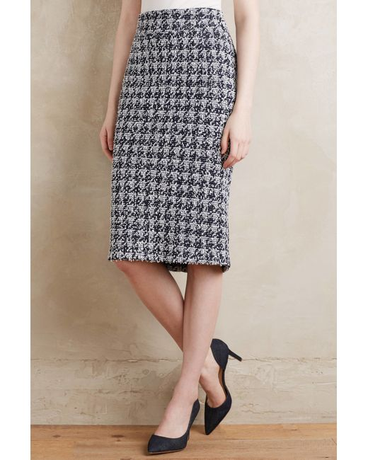 paper crown checkered knit pencil skirt in black black