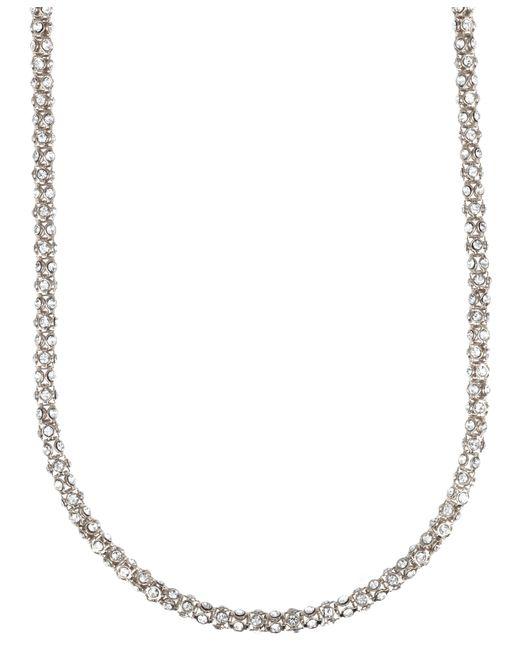 Anne Klein | Metallic Long Silver Crystal Tubular Necklace | Lyst