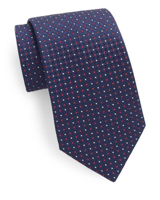 Saks Fifth Avenue | Blue Silk Neat-pattern Tie for Men | Lyst
