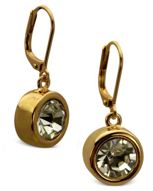 T Tahari | Metallic Gold-tone Bezel Crystal Signature Drop Earrings | Lyst