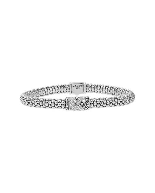 Lagos | Metallic 'embrace' Diamond Caviar Bracelet | Lyst