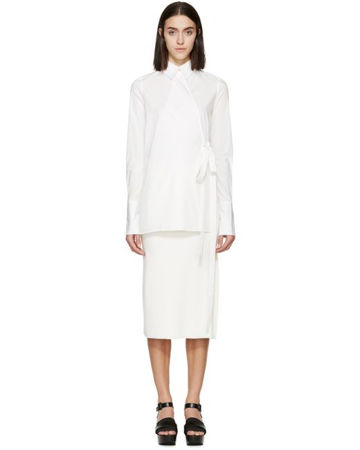 Rosetta Getty | White Poplin Wrap Shirt | Lyst