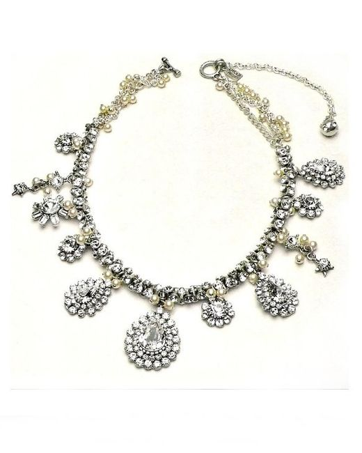 Otazu | Metallic Swarovski Crystal And Pearl Multi-drop Necklace | Lyst