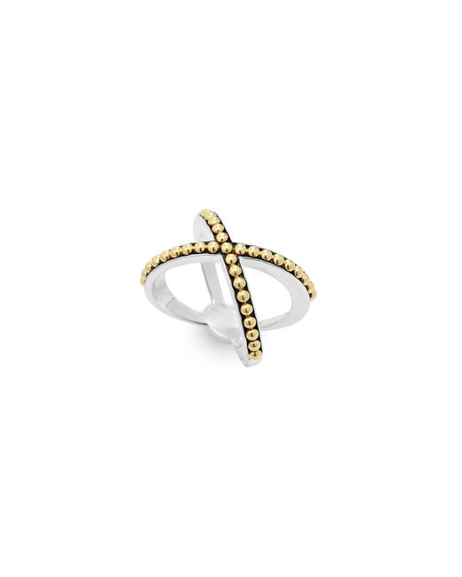 Lagos | Metallic 18k Gold And Sterling Silver Enso Caviar X Ring | Lyst