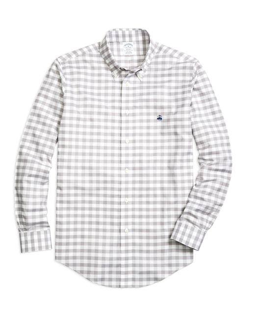 Brooks Brothers | Gray Non-iron Regent Fit Gingham Sport Shirt for Men | Lyst