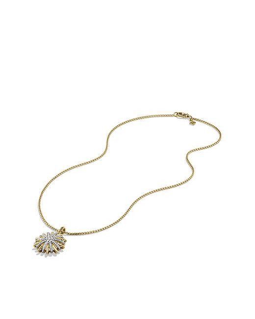 David Yurman | Metallic Starburst Medium Pendant Necklace With Diamonds In Gold | Lyst