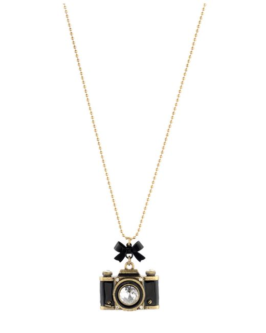 Betsey Johnson | Metallic Gold-tone Camera Pendant Necklace | Lyst