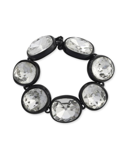 Kenneth Jay Lane | Metallic Black Plated Crystal Bracelet | Lyst