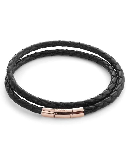Tateossian | Double Wrap Scoubidou Black Leather Bracelet With 18k Rose Gold Clasp for Men | Lyst