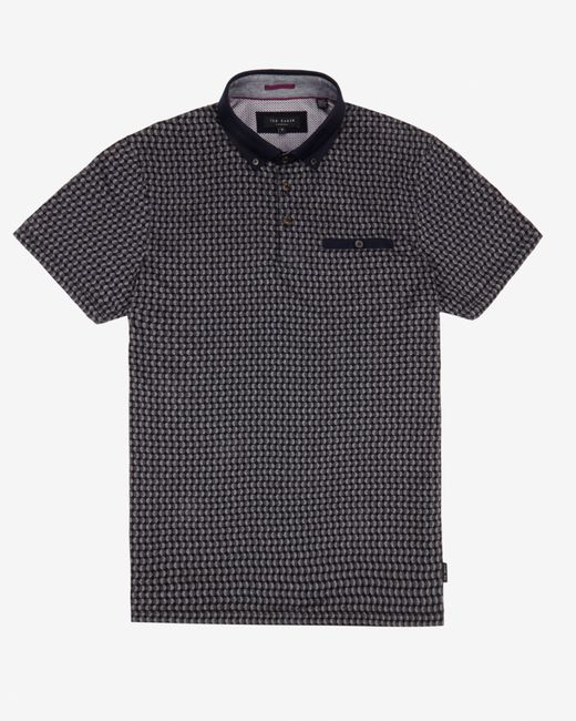 Ted Baker | Black Circle Print Polo Shirt for Men | Lyst